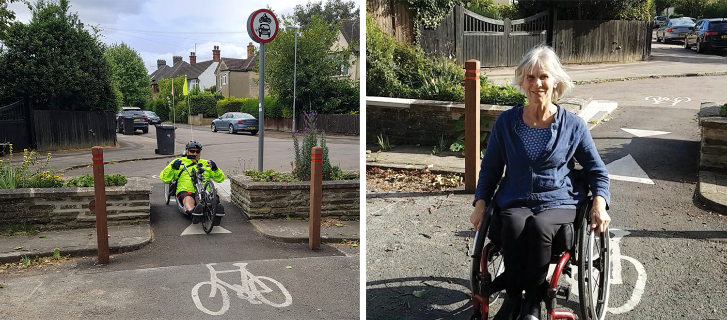 A person using a handcycle and a person using a wheelchair using the Highworth Avenue modal filter