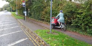 cargo cycle on Madingley Road pathway
