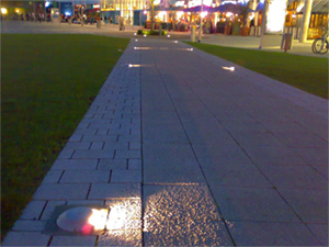 LED lighting on a path in Cambridge