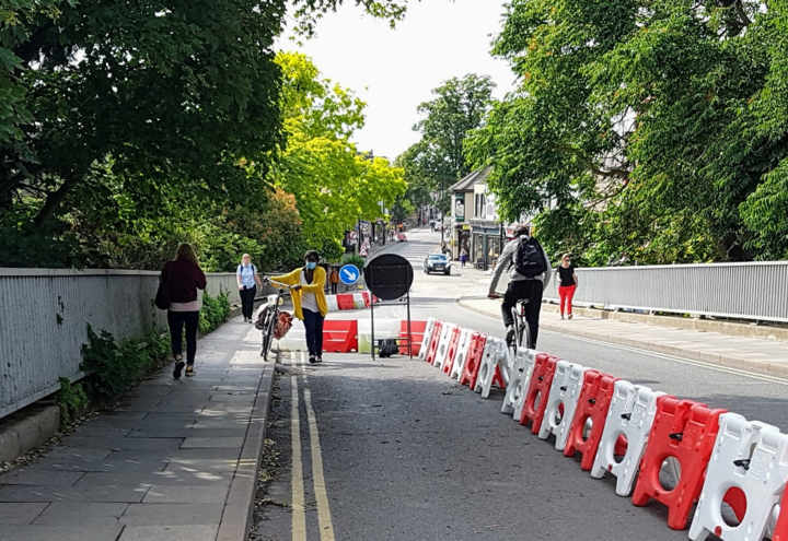 Experimental bus gate and pavement widening on Mill Road bridge