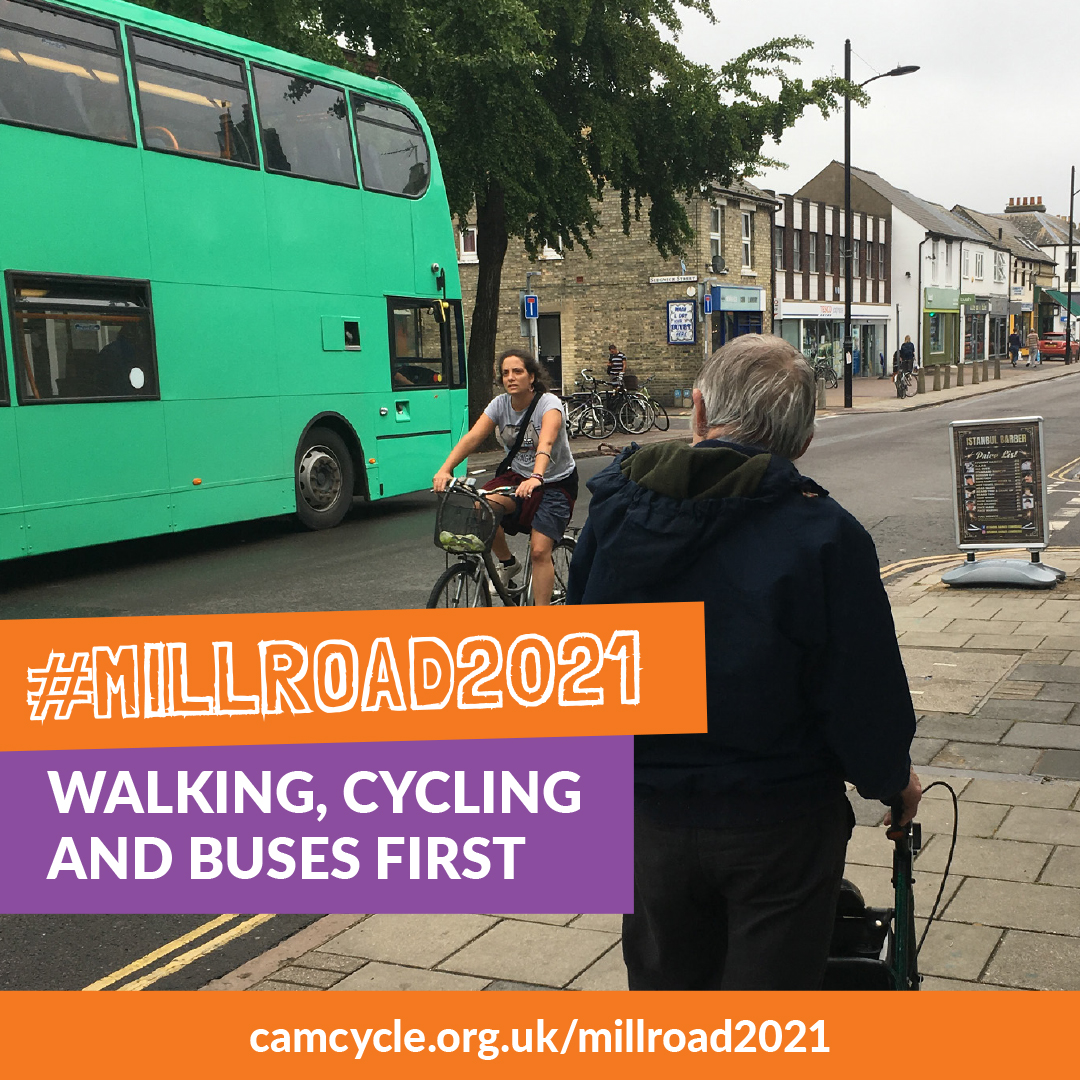 A photo of Mill Road showing someone walking, someone cycling and a bus