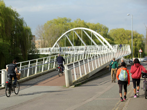 Riverside walking and cycling bridge