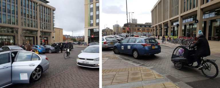 Cycles in conflict with taxis at Station Square