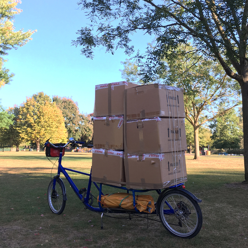 Cargo bike loaded with boxes