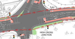 option 1 staggered crossings and unprotected cycle lanes