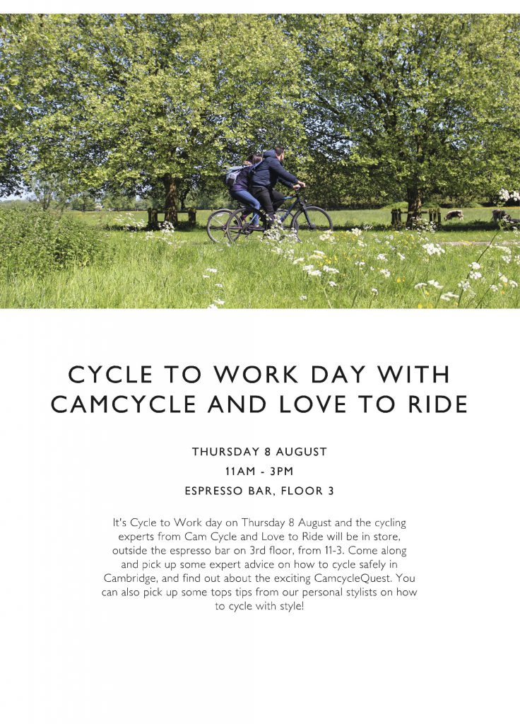 Get cycling on National Cycle to Work Day: Thursday 8 August