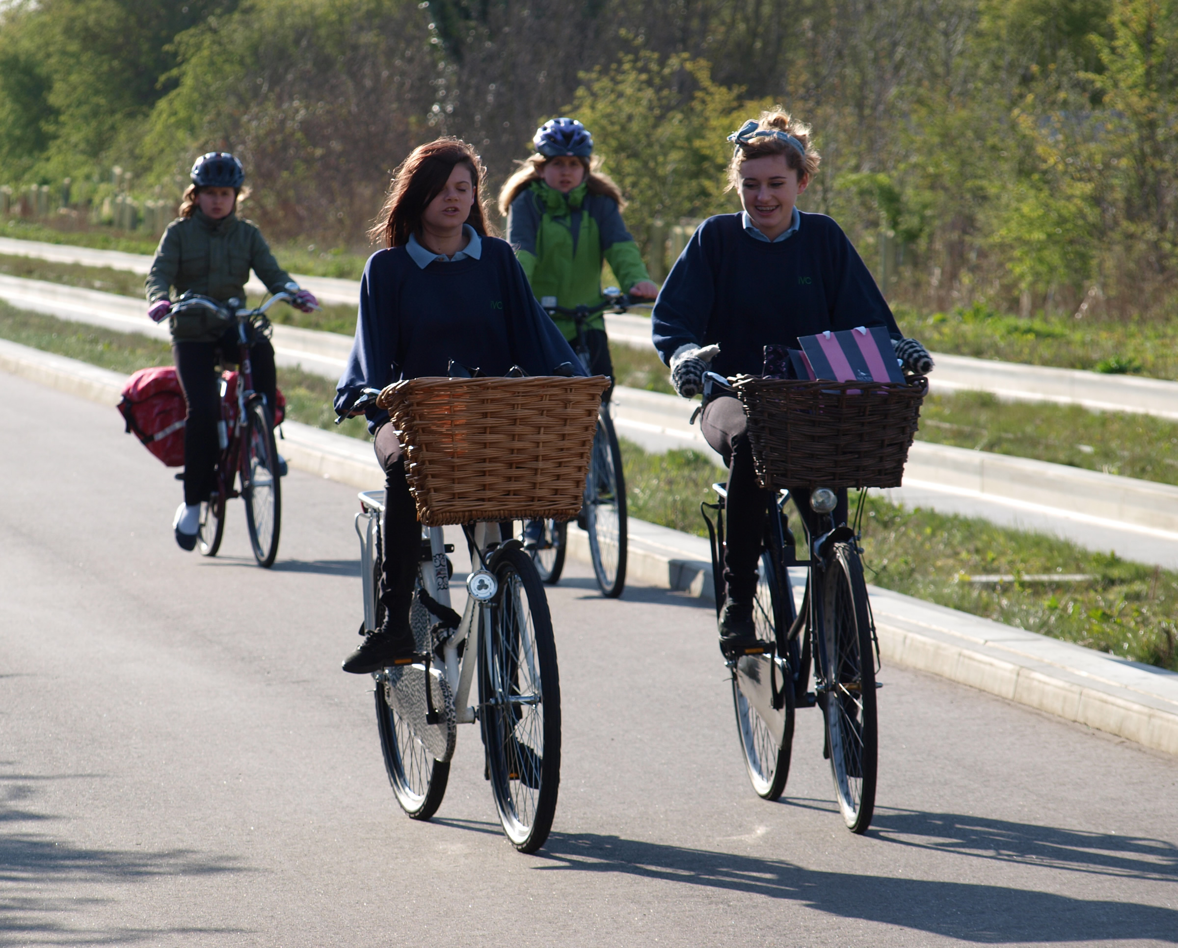 Cyclists on the busway cycleway. Image: Klaas Brumann