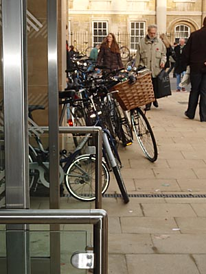 cycles piled up outside John Lewis