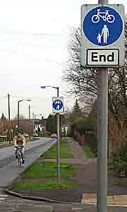 The cycle path ends at each side road
