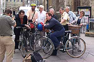 Councillors and Council Officers arriving by bicycle to a meeting