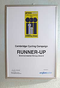 Cambridge Cycling Campaign's Runner-up certificate