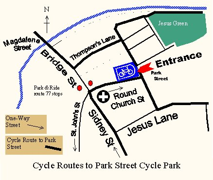 Simple map of cycle routes to Park Street Cycle Park