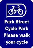 'Please walk your cycle' sign